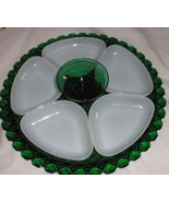 Anchor Hocking Forest green condiment set 7 pie... - $57.00