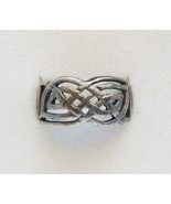 LARGE MEN'S SOLID STERLING SILVER CELTIC WEAVE BAND RING SIZE 9 3/4 VERY... - $14.95