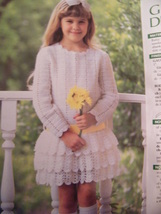 Girl's Ruffled Dress Crochet Pattern 1987 Annies Attic - $6.00
