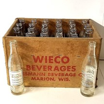 Full Case 24 Glass Bottles Set Wieco Soda Pop 7 1/2 Oz Wiesmann Wisconsi... - $89.07