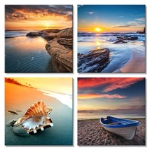 Pyradecor Sunset Sea Beach Modern Seascape Pictures Paintings on Canvas ... - $18.69