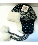 New With Tags The Original Muk Luks Winter Hat Dark Blue/white with tassels - $9.73