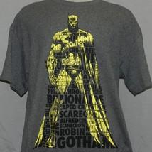 New Batman Dark Knight Text DC Comics Gotham Gray Heather T-shirt Mens XL - $9.89