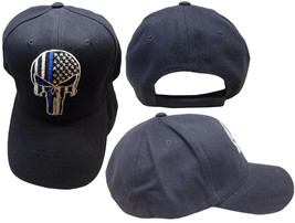 Thin Blue Line daemon Skull Ball Cap police law enforcement Cap CAP991C Hat - $19.88