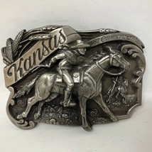 VTG Siskiyou Kansas Commemorative 1987 Cowboy Riding Farming Belt Buckle... - $49.49