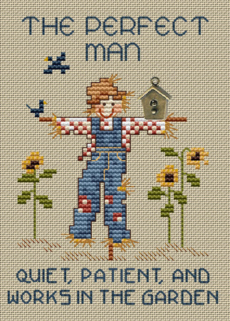 The Perfect Man Post Stitches cross stitch chart with charm Sue Hillis Design