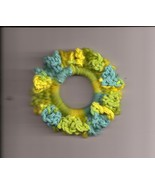 Blue GreenYellow Crochet Ponytail Holder Handcrafted Stretch - $2.50