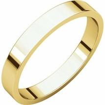Fine 10k Yellow Gold 3 mm High Polished Flat Wedding Band Ring Size 3-16 - $67.32+