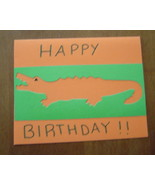 Alligator Happy Birthday blank Card, Handcrafted scrap happy card - $4.95