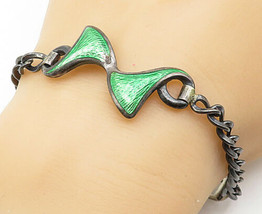 925 Sterling Silver - Vintage Enamel Detailed Curb Link Chain Bracelet -... - $48.71