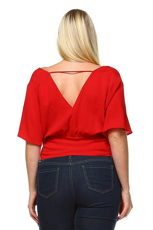 Red Lace Crop Top Plus Size Shirt Fashion Los Angeles 5.99 Fashion Online - 3X