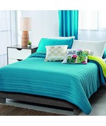 Blue and Green Textured Reversible Basic Comforter Twin Size Soft and Warm - $70.09