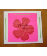 Pink Flower Thank You blank Card, Handcrafted scrap happy card - $4.95