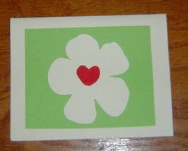 Loving Hearts Flower Card, Handcrafted scrap happy card - $4.95