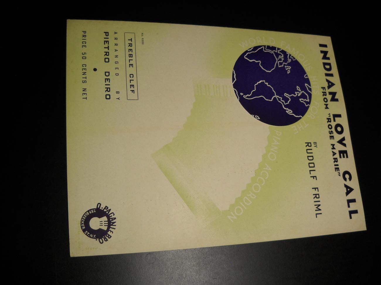 Sheet music indian love call rose marie rudolf friml 1924 o pagani   bro music 01