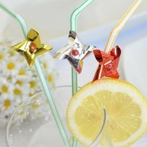 Set of 8 Assorted Colors Foil Pinwheel Straws Windmill Flexible Drinking... - $7.48