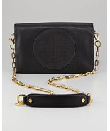 NWT Tory Burch Kipp Perforated Logo Leather Crossbody Bag BLACK $450+ AUTHENTIC - $299.90