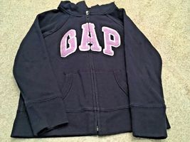 Girl's Gap Kids Zippered Hooded Navy Sweatshirt/Jacket With Lavender Logo (S) image 3