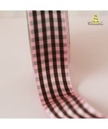 Vintage Pink and Black plaid ribbon.... price is per yard - $4.00