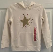 NEW Girl's Sz 6 - 6X Fleece Hooded Cream Sweatshirt with Stars - $7.91