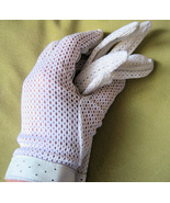 White Dress Gloves Vintage 1950s Wedding Leather Trim - $21.95