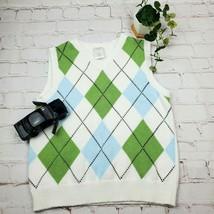 Gymboree Boys Small 5-6 Sweater Vest White Blue and Green Argyle - $19.79
