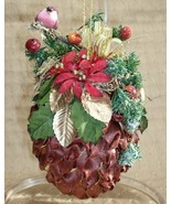 Decorated RIBBON PINECONE ORNAMENT with BIRD and BERRIES - Very Unique & Pretty! - $3.49
