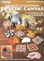 Leisure Arts #321 Country Coasters in Plastic Canvas Leaflet - $9.90