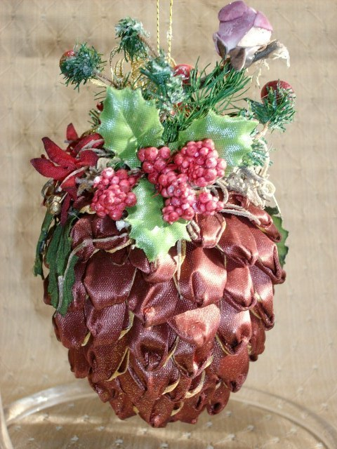 Decorated RIBBON PINECONE ORNAMENT with BIRD and BERRIES - Very Unique & Pretty!