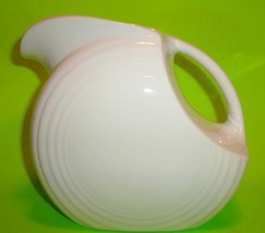 CONTEMPORARY FIESTA WARE POTTERY DISC DRINK PITCHER PEARL WHITE IVORY EG... - $29.30