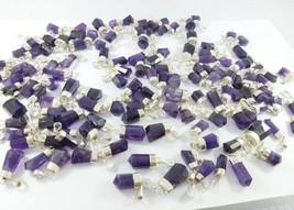 Natural Sterling silver Purple Amethyst necklaces pendants long 08 pieces lot - $39.60