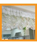 green balloon shade curtain ruffle valance top beads accent sheer romant... - $39.00