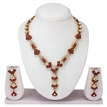 Pink Valentine's day Gift Designer Indian Fashion Jewelry Gold Tone Necklace Set - $13.85