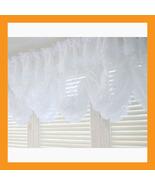 large balloon shades valance curtain white beads window treatment kitche... - $39.00