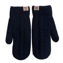 Woolen Gloves Warm Winter Gloves Students Gloves Lovely Mitten for Girl [Black]