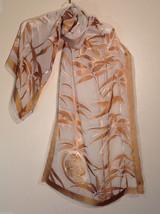 Metropolitan Museum of Art Ivory & Brown Silk Scarf / Asian Bird & Bamboo Print