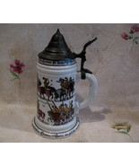 German Beer Stein Glass Mug Vintage Germany Knights Horses Collector Hol... - $129.95