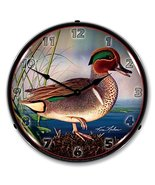 Green Wing Teal Duck Brand New Backlit Lighted Clock Garage Office Colle... - $129.95