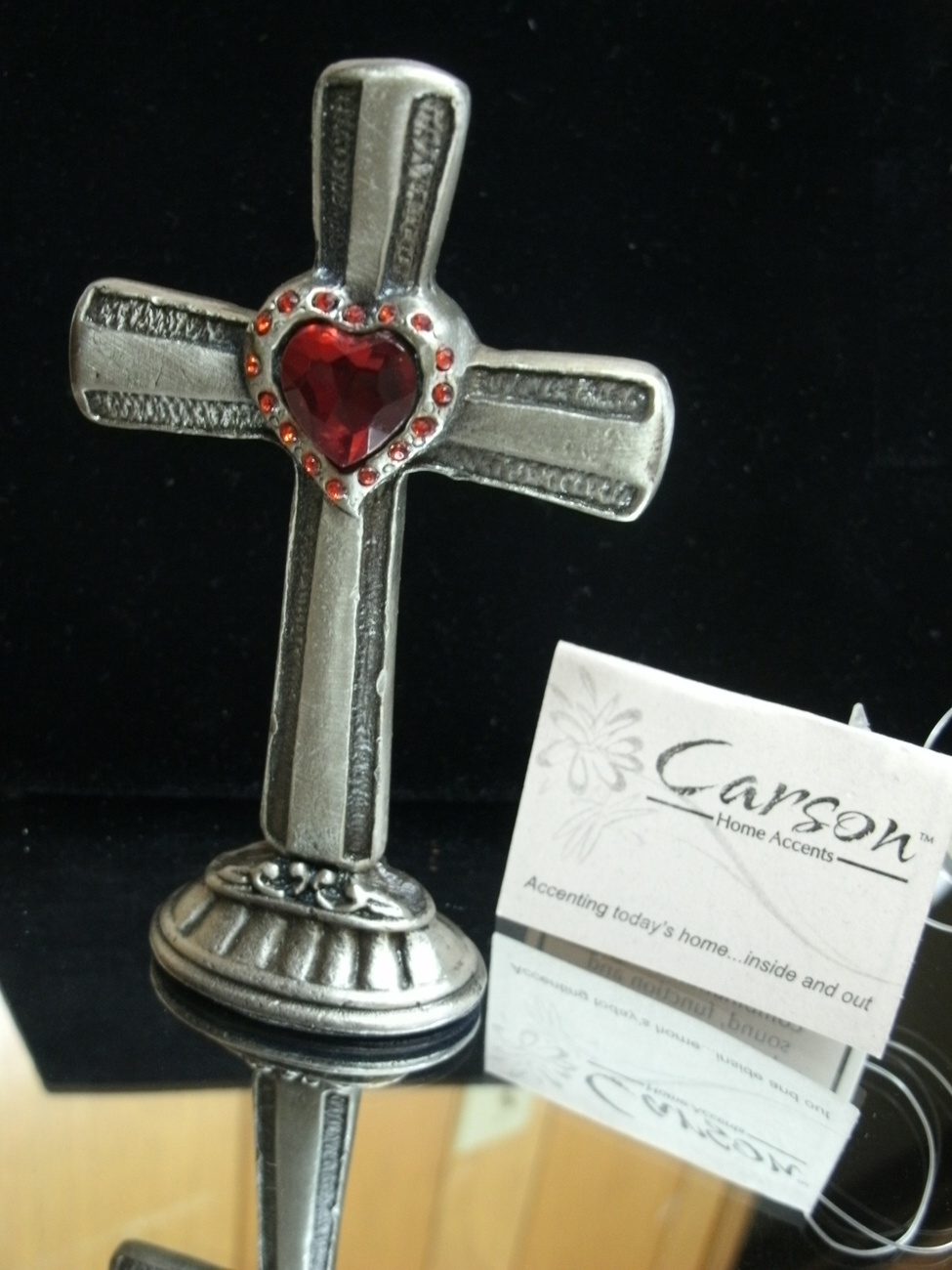 Red Crystal Rhinestone and Heart CROSS by Carson Home Accents - NEW