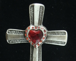Red Crystal Rhinestone and Heart CROSS by Carson Home Accents - NEW image 2