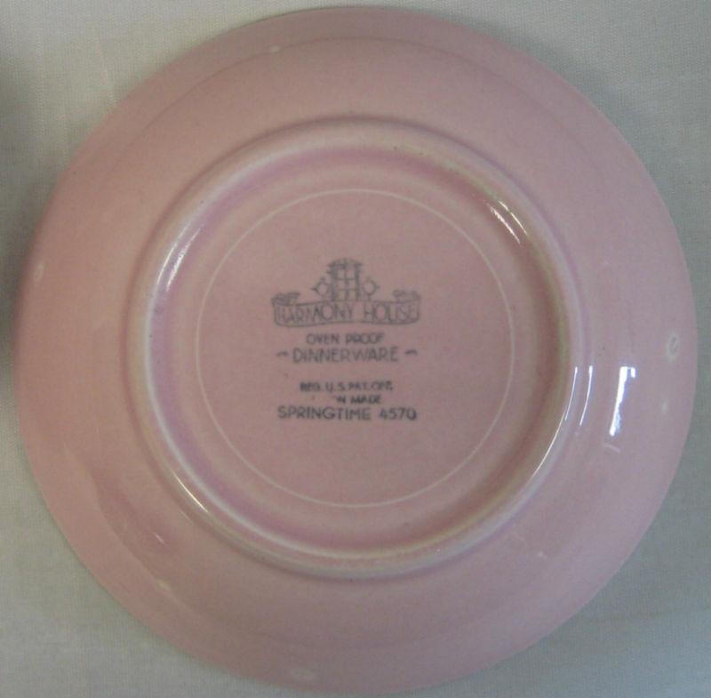 "4 Harmony House Springtime Pink Berry Bowls 5 3/8"""