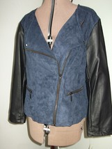 Macy's Womens Size L XL Navy Blue $119 Jacket Faux Leather Suede Coat NW... - $25.99