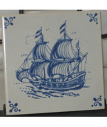 Royal Mosa Holland Ship Blue & White Ceramic Tile - $24.99