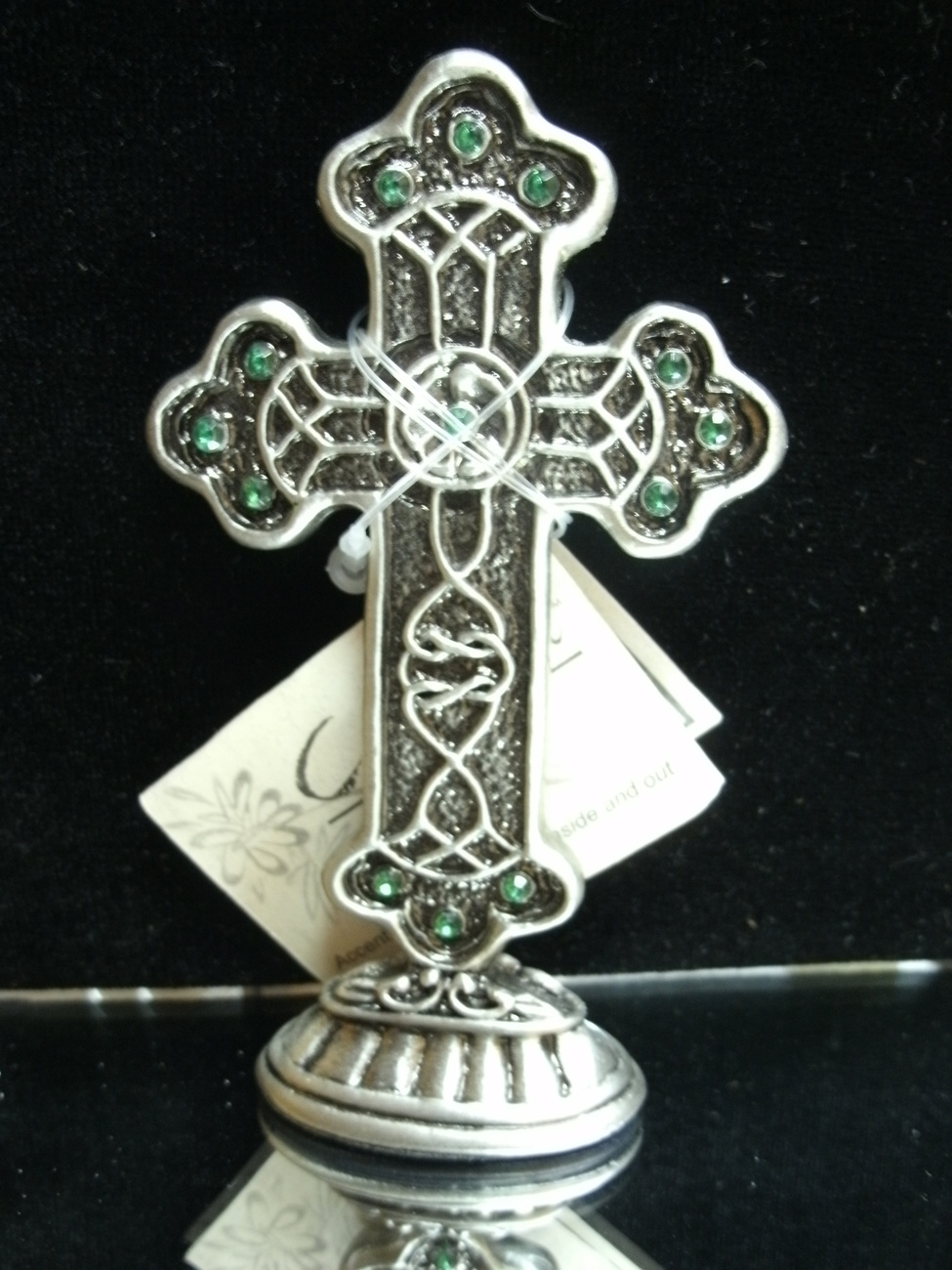 Green Crystal Rhinestone CROSS by Carson Home Accents - NEW image 3