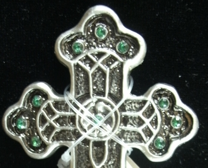 Green Crystal Rhinestone CROSS by Carson Home Accents - NEW image 2