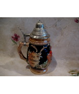 German Beer Stein Glass Mug Vintage Germany Froh Beim Bier Das Lieben Wi... - $74.95