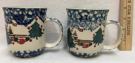 Coffee Cups Mugs Blue Cabin in the Snow Pine Tree Tienshan Folk Craft Pair  - $12.86