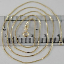 18K YELLOW GOLD CHAIN MINI 0.7 MM VENETIAN SQUARE LINK 15.75 INCH. MADE IN ITALY image 1