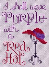 Red Hat Post Stitche cross stitch chart with ribbon Sue Hillis Designs image 1