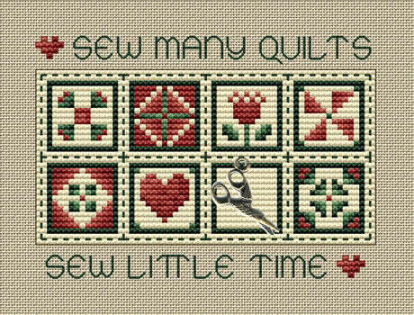 Sew Many Quilts Post Stitches cross stitch chart with charm Sue Hillis Designs